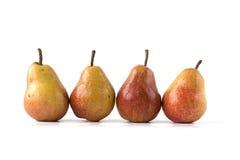 Vier peren op wit Stock Afbeelding