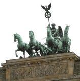 Vier Pferde und der Quadriga über dem Brandenburger Tor in Berlin Lizenzfreie Stockfotos