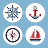 Vier pictogrammen op het mariene thema Royalty-vrije Stock Foto