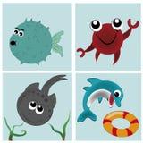 Vier pictogrammen van de dieren in het overzees Vector Illustratie