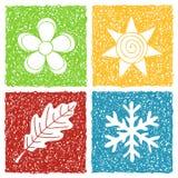 Vier pictogrammen van de seizoenenkrabbel Royalty-vrije Stock Afbeeldingen