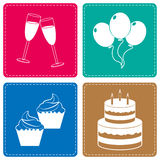 Vier Pictogrammen vertegenwoordigt Partijen Joy And Cheerful vector illustratie
