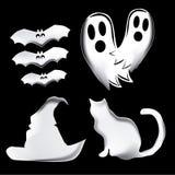 Vier pictogrammen voor Halloween Royalty-vrije Stock Afbeelding