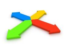 Vier pijlen die in verschillende richtingen wijzen Stock Foto