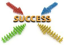 Vier pijlen van karakters die naar succes gaan Stock Afbeelding