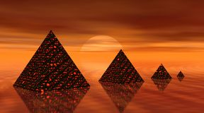 Vier piramides door zonsondergang Stock Fotografie