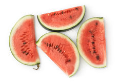 Vier Plakken van de Watermeloen Royalty-vrije Stock Foto's