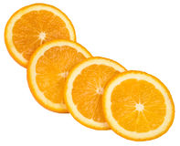 Vier plakken van sinaasappel Stock Foto's
