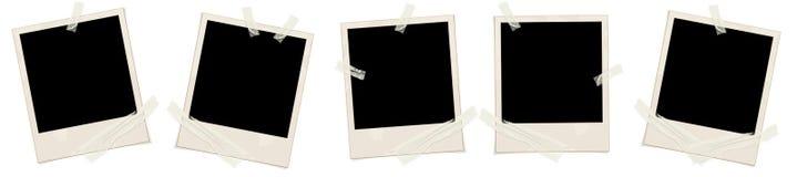 Vier Polaroide auf Weiß Stockbilder