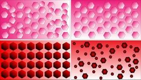 Vier Polygonmuster-Hintergrundvektoren differentred, Rosa- und Weiß Lizenzfreie Stockfotos