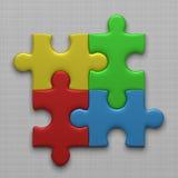 Vier Puzzlespielstücke Stockfoto