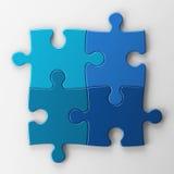 Vier Puzzlespielstücke mit Ausschnittspfad Stockbilder