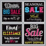 Vier quadratische schwarze Fahnen mit Verkauf bieten an, vector Stockbild