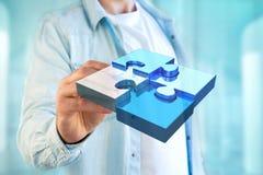 Vier raadselstukken die een embleem op een futuristische 3d interface maken - Stock Afbeeldingen
