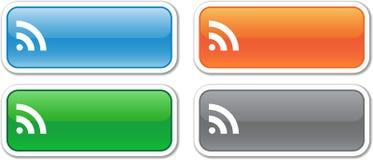 Vier rechteckige Tasten des Vektor RSS Lizenzfreie Stockfotos