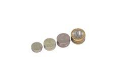 Vier Reihen von Stapelmünzen Stockfoto