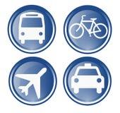 Vier reis en vervoerspictogrammen Stock Afbeelding