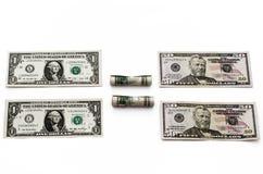 Vier rekeningen Amerikaanse dollars. Royalty-vrije Stock Afbeeldingen