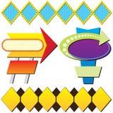 Vier Retro- bekanntmachende Zeichen Lizenzfreie Stockbilder
