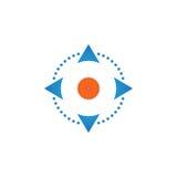 Vier richtingspijlen controleren vector, stevige die het embleemillustratie van het knopenpictogram, pictogram op wit wordt geïso royalty-vrije illustratie