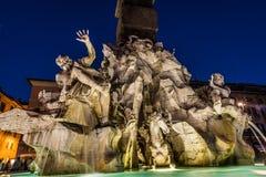 Vier rivierenfontein in Rome royalty-vrije stock foto
