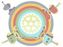 Vier Robots binnen regenboog omcirkelen toestel op centrum Royalty-vrije Stock Fotografie