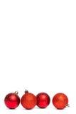 Vier rode decoratie van de Kerstmisbal Royalty-vrije Stock Afbeelding