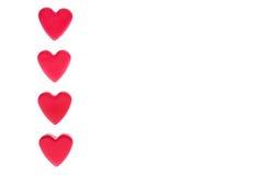 Vier rode harten Royalty-vrije Stock Foto