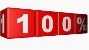 Vier rode kubussen met schrijven 100%-beweging op witte achtergrond - 3D teruggevende video vector illustratie