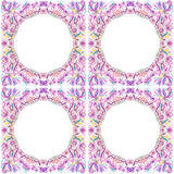 Vier ronde kaders met bloemenornament Royalty-vrije Stock Afbeelding