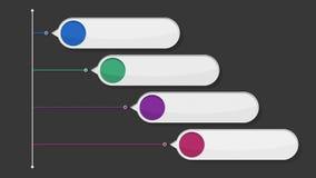 Vier ronde vierkante het vakje van de introtitel grafiek, Power Point-presentatiemalplaatje (inbegrepen alpha-) royalty-vrije illustratie