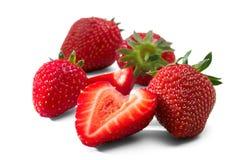 Vier Rot-Erdbeere lokalisiert auf weißem Hintergrund lizenzfreies stockbild