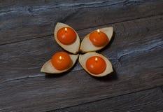 Vier runde orange Kerze, die in den Ständen brennt Stockbilder
