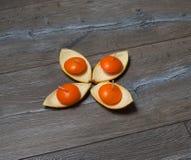 Vier runde orange Kerzen in den Ständen der orange Schale Lizenzfreie Stockfotografie