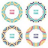 Vier runde Rahmen mit abstrakten geometrischen Mustern Lizenzfreie Stockfotos