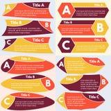 Vier Sätze von drei Elementen des infographic Designs Lizenzfreie Stockfotografie