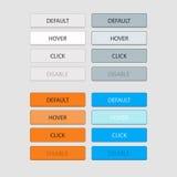 Vier Sätze von Schlüsseln, von Weiß, von Grau, von Orange und von Blau an Position defa Stockbilder