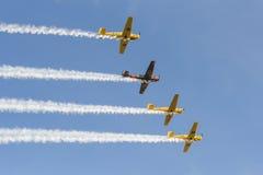 Vier Saab 91 Safir-Trainerflugzeuge in der Bildung Lizenzfreie Stockfotografie