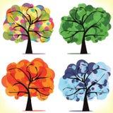 Vier Saisonbäume Lizenzfreie Stockbilder