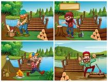 Vier scènes met houthakker en hout vector illustratie