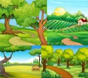 Vier scènes met landbouwbedrijf en park stock illustratie