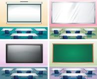 Vier scènes van klaslokalen Stock Fotografie