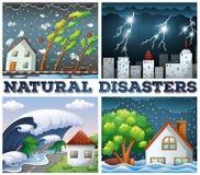 Vier scènes van natuurrampen stock illustratie