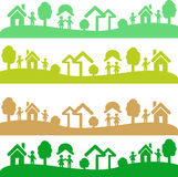 Vier Schüsse mit Ökologieelementen Lizenzfreie Stockfotos