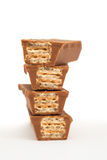 Vier Schokoladenwaffeln Stockfoto
