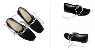 Vier schwarze Schuhe Stockfoto