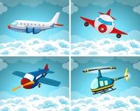 Vier scènes van vliegtuig die in de hemel vliegen Royalty-vrije Stock Afbeeldingen