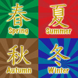 Vier seizoenen Chinese gouden karakters Stock Foto's