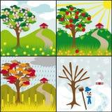 Vier seizoenen op een heuvel Stock Afbeelding