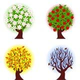 Vier seizoenen van appelboom. stock illustratie